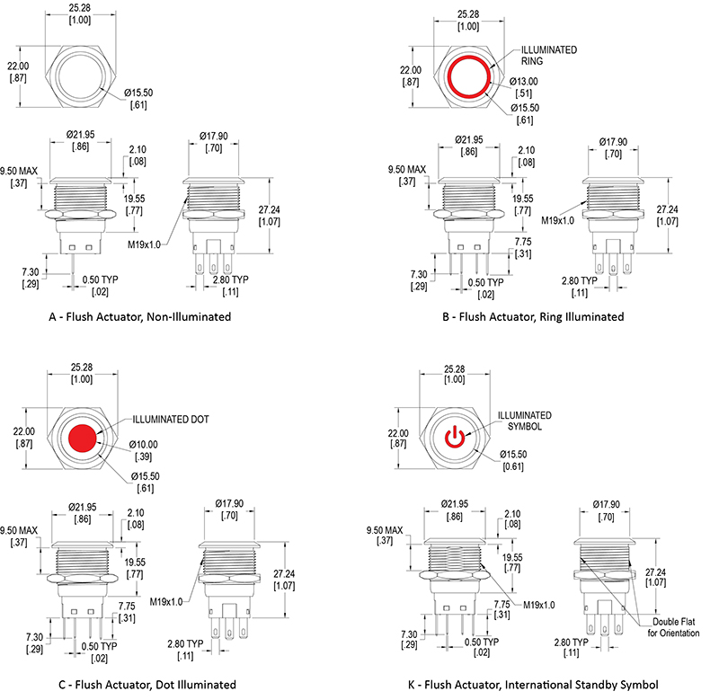 19mm Push Button Switch Illuminated Momentary Schematic Symbol Dimensional Drawing